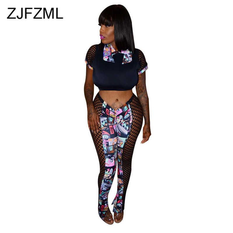Cartoon Pattern Sexy Two Piece Tracksuit Women Turn Down Collar Short Sleeve Crop Top  +Fishnet Hollow Pencil Pant Club Outfits