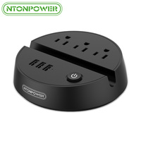 NTONPOWER ODY Portable US Electrical Plug Power Strip 3 Outlets 3 USB Charging Port With Phone