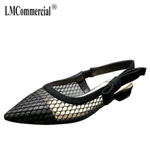 sandal net cloth is pointed hind the black shoe that takes bowknot womens shoes women flat shoes luxury brand shoes women