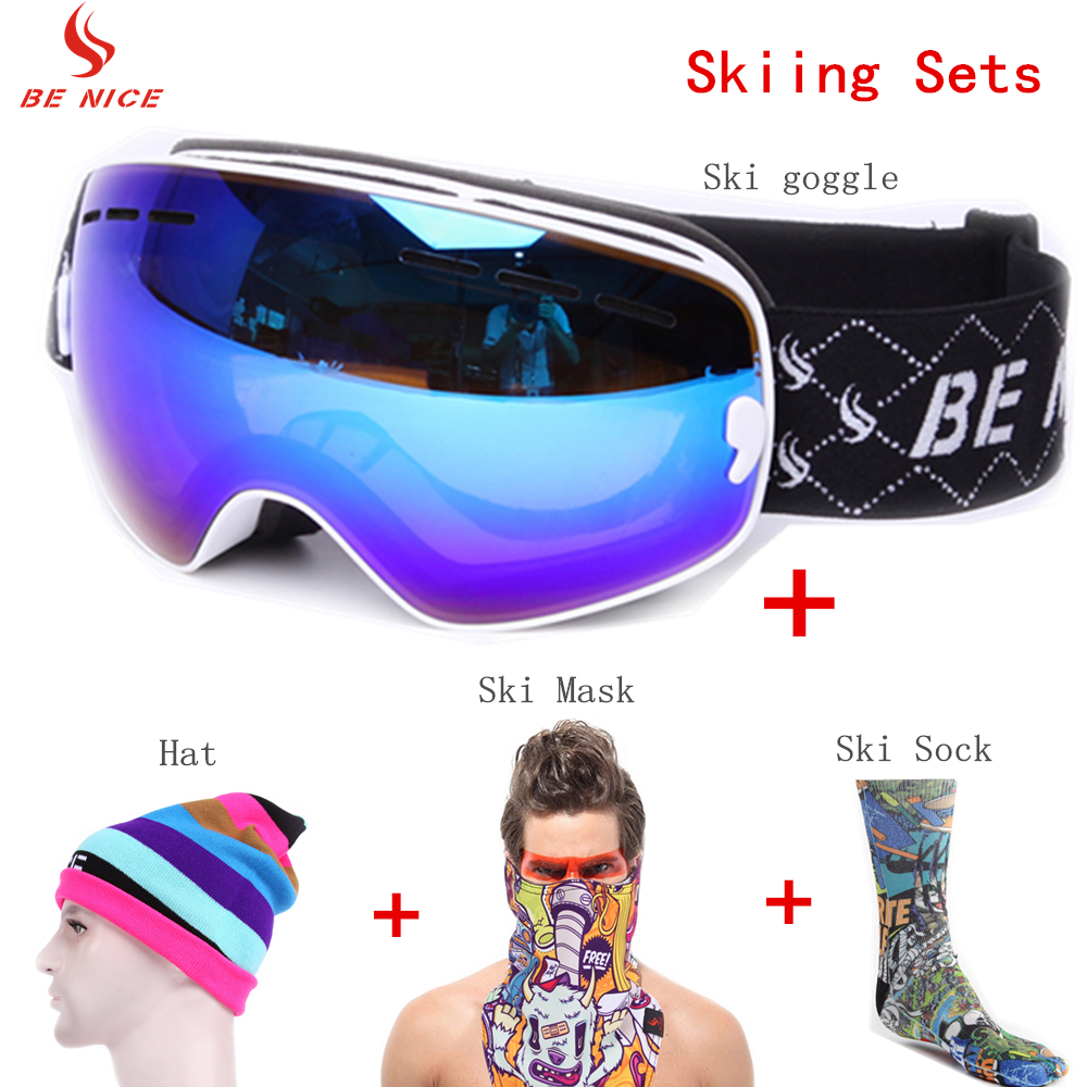 Professional Skiing Eyewear Sets UV 400 Protection Skiing Goggle and Soft Warmth Socks for Adults