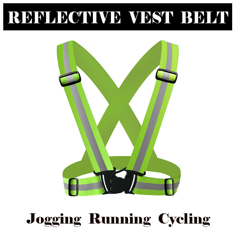 Reflective Safety Vest belt high visibility Reflective elasticated Strips waistcoat belt for night Jogging Running Cycling