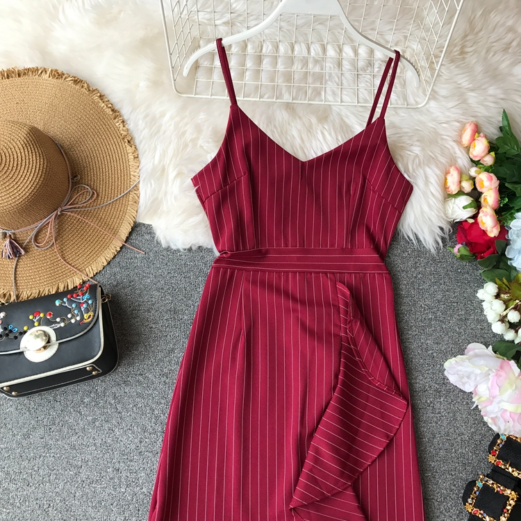 163c6ae0769a4 ALPHALMODA Striped Summer Spaghetti Strap Dress Slim Fit Asymmetric Ruffled  A Line Women Summer Vestidos White Party Dress Beaded Dress From Viviant,  ...