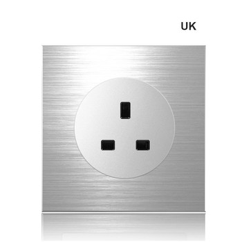 86 type 1 2 3 4 gang 1 2way Silver aluminum alloy panel Switch socket LED Northern Europe Industry German UK French light socket 13