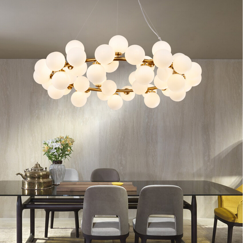 Modern round pendant lamp fixture 25head white glass ball pendant lights gold black magic bean - Modern pendant lighting for dining room ...