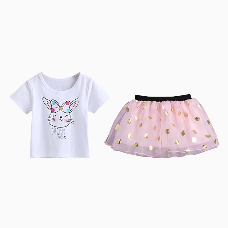 NewCasual Pullover O-Neck 3M-3T Mesh Kids Baby Girls Short Sleeve Cartoon Print Cotton T-Shirt+ Mesh Short Skirt Princess Set