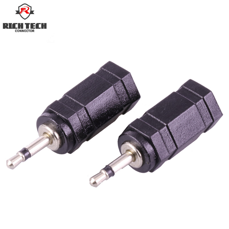 8pcs 2poles <font><b>Mono</b></font> <font><b>2.5mm</b></font> to <font><b>Mono</b></font> 3.5mm <font><b>Jack</b></font> Audio Wire Connector Nickel Plated plug+black plastic shell image