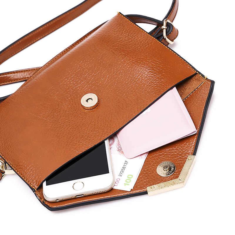 100% женские сумки из натуральной кожи 2019 новые европейские модные женские сумочки простые сумки на плечо съемный двойной мешок