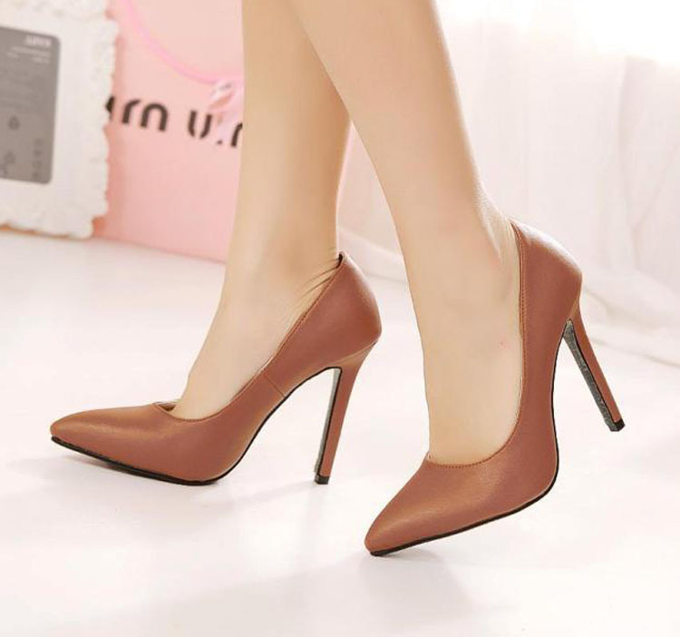 New Arrival Women Concise Pointed Toe High Heels Pumps Black and Brown  Career Office OL Ladies Shoes-in Women s Pumps from Shoes on Aliexpress.com
