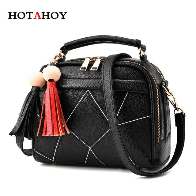 f8e561c0b630 Hotahoy маленькая сумка через плечо Сумки для девочек черная кожаная сумка  женская обувь на застежке-