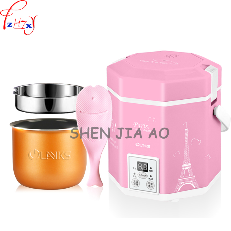 1.2L smart booking timing mini rice cooker three-dimensional heating porridge cooking small rice cooker 200W 220V 1pc 220v 600w 1 2l portable multi cooker mini electric hot pot stainless steel inner electric cooker with steam lattice for students