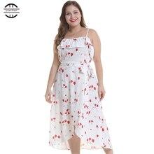 2019 New Spring Floral Print Ruffle Dress Sexy Big Size Women Dresses Casual Sleeveless White Plus Size 4XL Dress