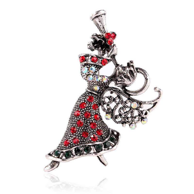 סינדי יאנג בציר ריינסטון מלאך ילדה סיכות לנשים אלגנטי בסט סיכות חג המולד מתנת תכשיטי אביזרי שמלת מעיל