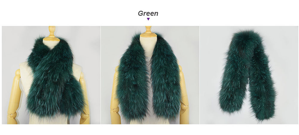 knit fox fur scarf color green