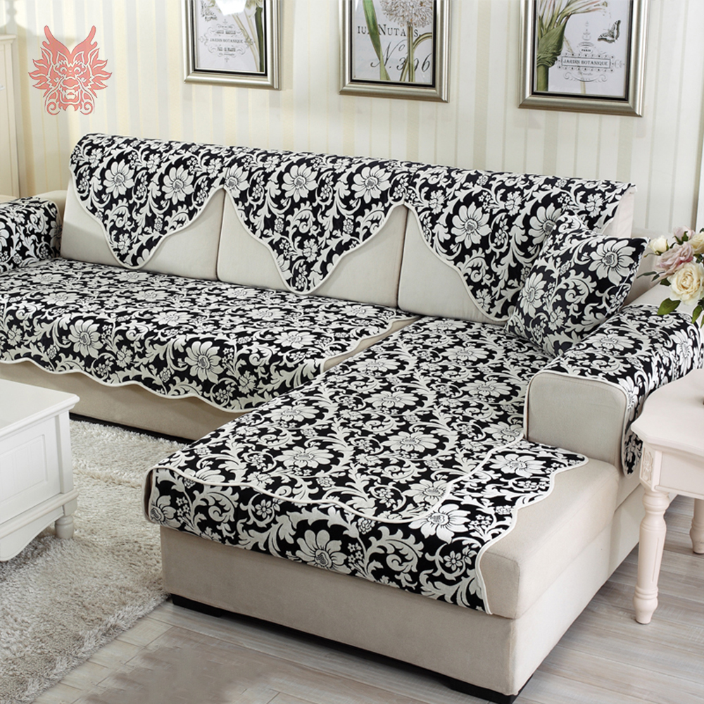 Europe pastoral style luxury black floral jacquard sofa for Canape sofa cover