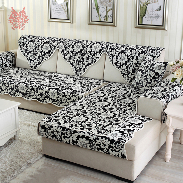 Europe pastoral style luxury black floral jacquard sofa cover ...