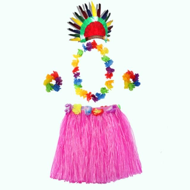 2018 Colorful Hawaii Grass Skirt Flower Lei Hula Garland Wreath ...