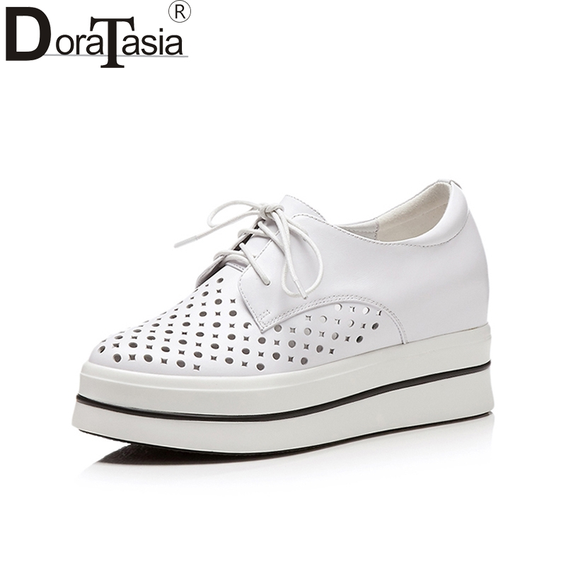 Doratasia 2018 Fashion Cow Leather Vulcanize Brand Wholesale Sneaker Lace Up Shoes Woman White Pink Women Shoes