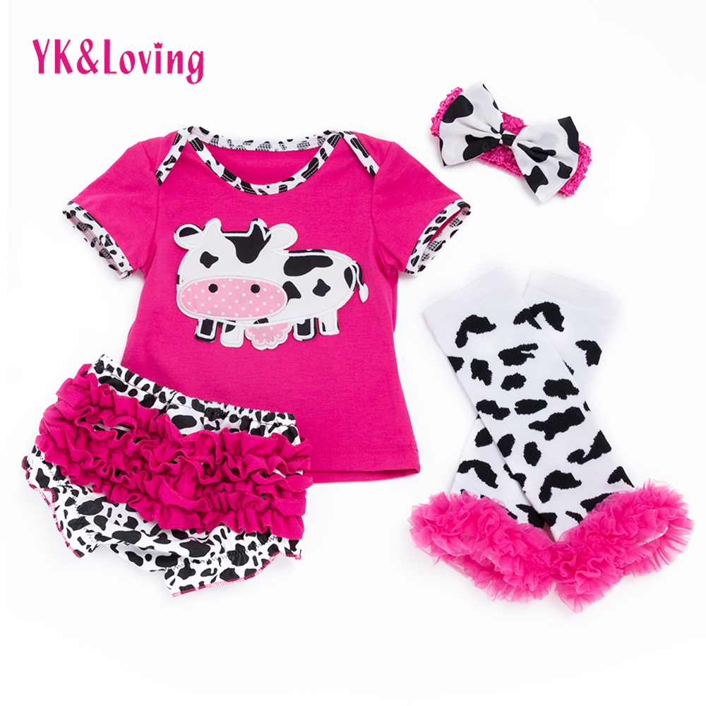 Baby Clothes Cotton Romper Baby Girl Dairy Cow Print TShirt Top+Ruffles+Lace Pants+Legging Newborn Clothing Set YK&Loving F4005