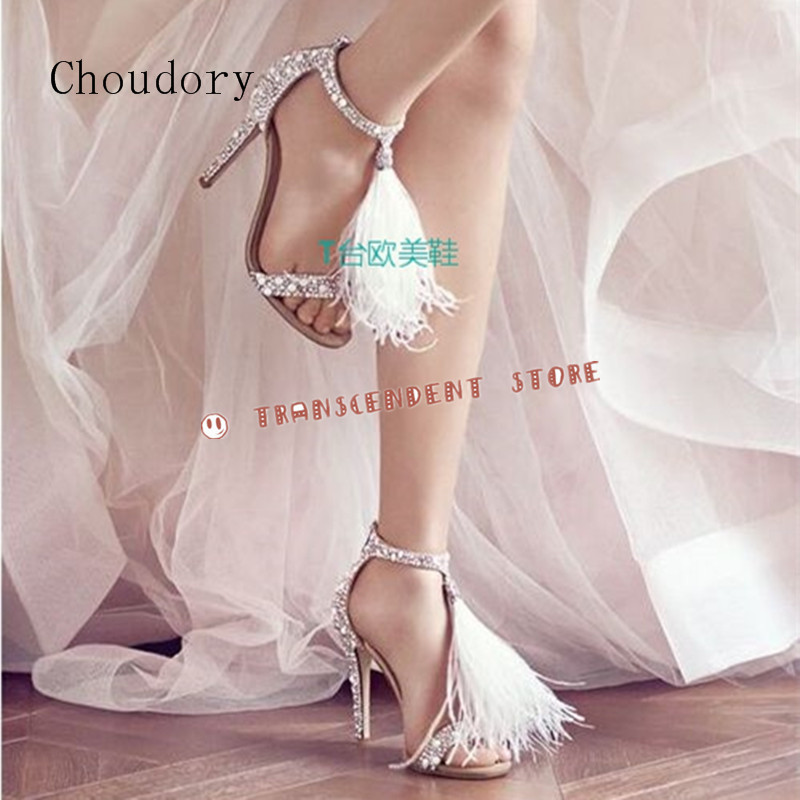 Choudory Crystal Embellished High Heel Sandals Feather Tassel Gladiator Sandals Women Leather Shoes Bead Fringe Party Pumps