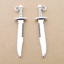 100 шт./лот LD2895 антикварный серебряный нож формы сплава Шарм Подвеска подходящие делая 10x43 мм