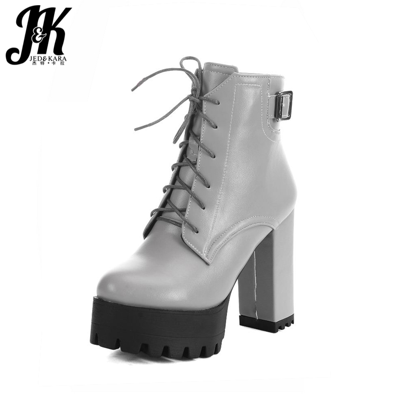 Big Size 34-43 Vintage Thick High Heels Platform Ankle Boots Female Fashion Shoes Woman Buckle Charm Lace Up Fall Winter Boots big size 34 43 fashion rivets skid proof ankle boots square high heels platform shoes fall concise winter boots shoes woman