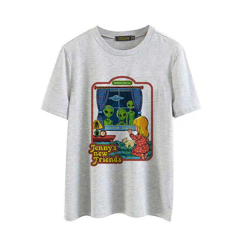 Vintage s Tumblr T-shirt Feminina Mulheres Engraçado