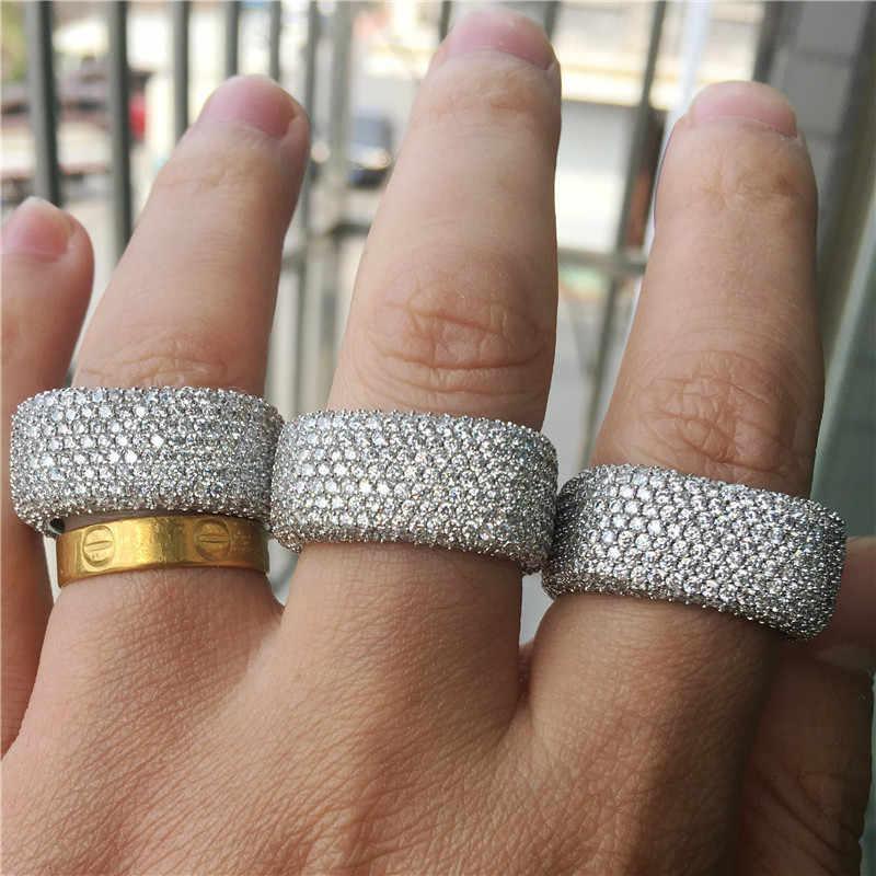 Vecalon หรูหราแหวน 925 เงินสเตอร์ลิง Micro Pave 450pcs Zircon CZ แหวนหมั้นแหวนผู้หญิงผู้ชายเครื่องประดับ