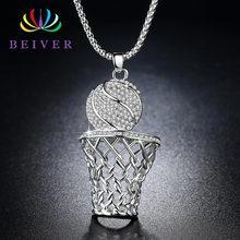 19f4b9b6c0f0 Collar de baloncesto y aro de Hiphop de Beiver para hombres de moda de  circonita clara de oro plata colgante de cadena larga col.