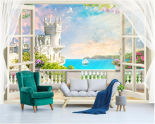 beibehang Dream fashion three-dimensional wallpaper 3D European window balcony sea mural TV background wall papers home decor