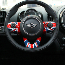 3pcs Union Jack Car Steering Wheel Case Sticker Cover for Mini Cooper One F54 Clubman F55 F56 F60 New Countryman Car Styling 9 options super inner accessories for mini cooper f54 f55 f56 f60 union jack carbon fiber interior steering wheel center cover