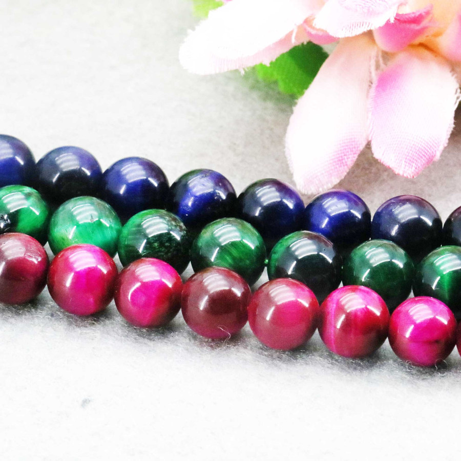 Accessories Tiger Eyes Stones Balls Gifts Green Blue Red Tigereye Loose DIY Beads 15inch Jewelry Making Design Wholesale 8mm