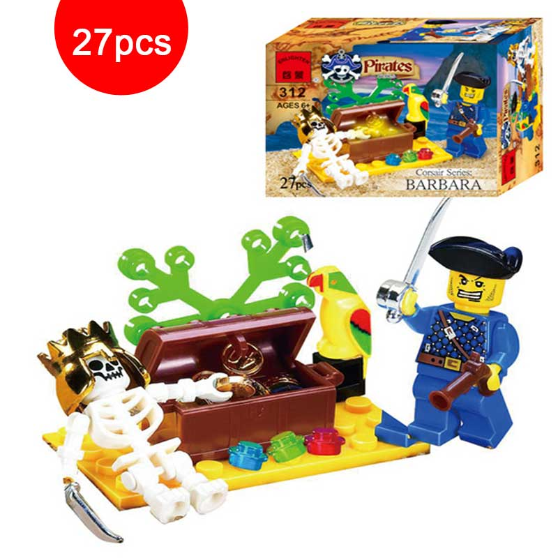 Corsair Series Of Skeleton Island Treasures Adventure Model Skeleton VS Pirate Figures Building Blocks Bricks Educational Toys