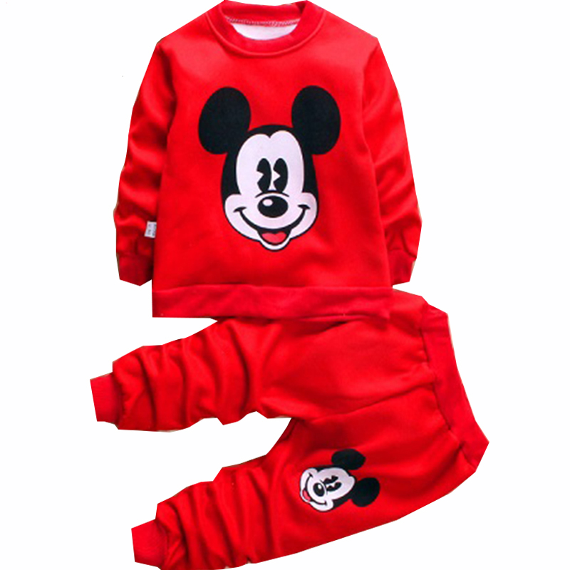 Autumn Winter Children Woolen Warm Girls Minnie Clothes Set Kids Boys Mickey Outfits Coa ...