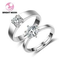 ירח בהיר מתכוונן גברים נשים כסף סטרלינג 925 CZ SONA טבעות זוגות טבעת נישואים סט סטי כלה אירוסין בנד קלאסי