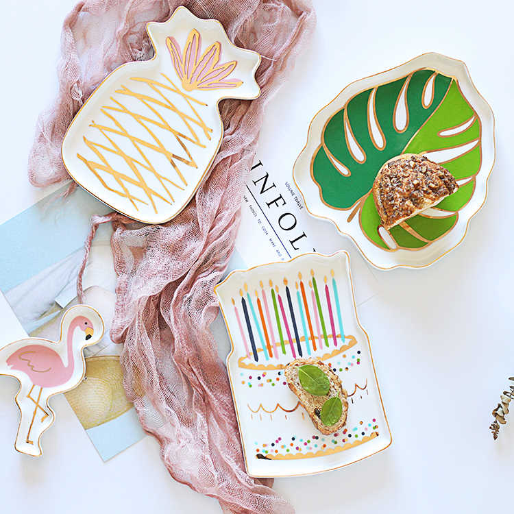 小さなパイナップルフラミンゴケーキセラミックプレート皿装飾磁器プレートジュエリー収納トレイリング小物ディッシュ食器
