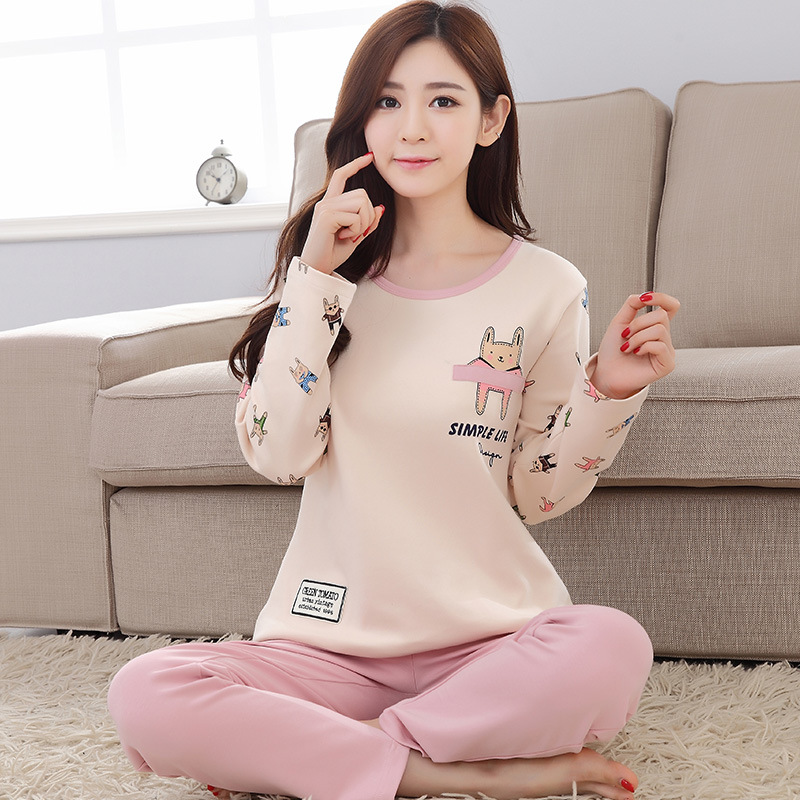 2019 Women Pajamas Sets Autumn Winter New Women Pyjamas Cotton Clothing Long Tops Set Female Pyjamas Sets NightSuit Mother Sleep 103