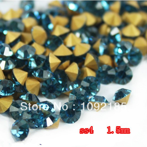 SS4 14400Pieces 100Gross Point Back Rhinestone Blue zircon Color Point Back Chaton Free Shipping степлер мебельный gross 41001