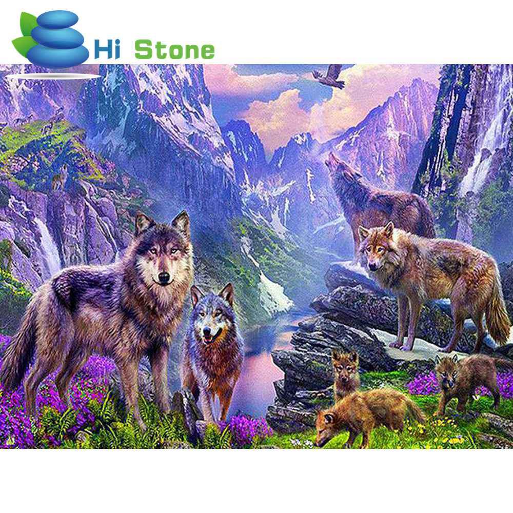 5D алмазов картина волки Diy полный квадратных вышивки крестом алмаз вышивка Мозаика горный хрусталь Strass фотографии украшения подарок