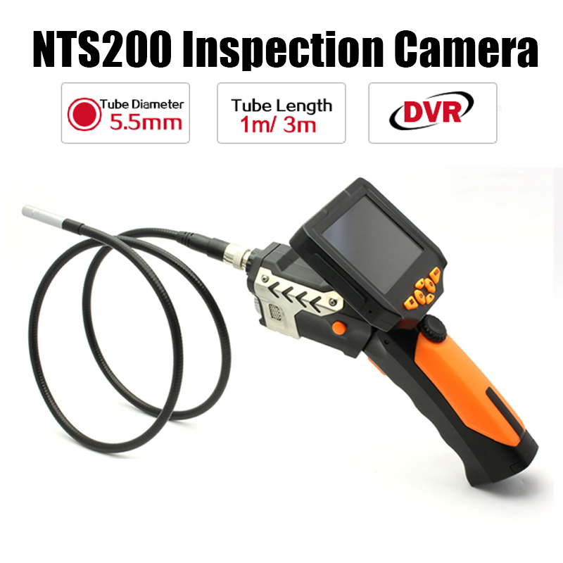 Blueskysea DVR 360 Rotated NTS200 3.5 LCD Screen Dia 5.5mm 1M/3M Inspection Tube Snake Camera Endoscope Borescope Zoom eyoyo nts100 dia 8 2mm 2 7 lcd nts100 endoscope borescope snake inspection 1m tube camera dvr