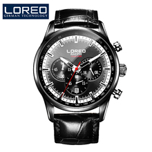 LOREO Germany watches men luxury brand speed motor racing military watch multifunction Chronograph black Leather band