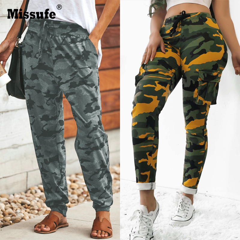 Missufe Sexy Leopard Printed Long Pants Women Drawstring Casual Trousers Female Autumn Winter Pocket Loose Workout Sporty Pants