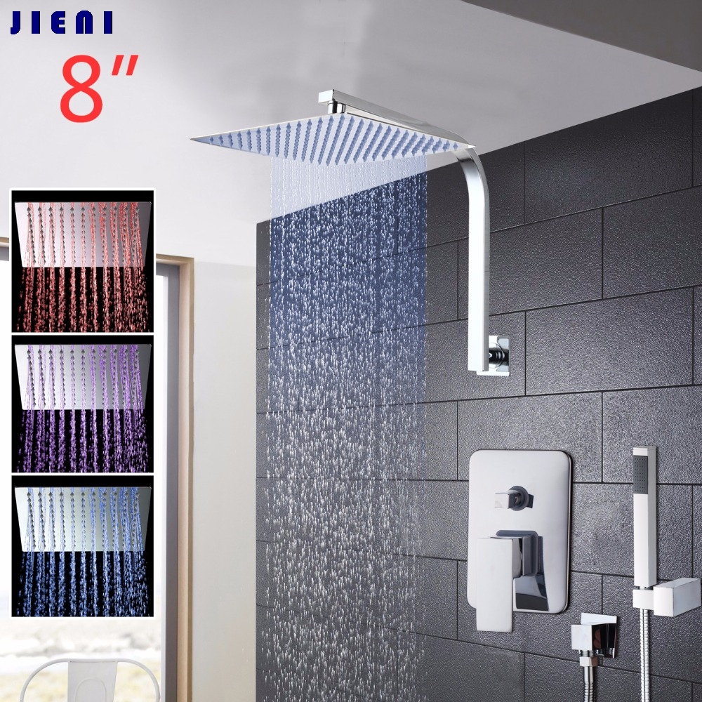 8 Inch LED Rainfall Bathroom Shower Kit Hand Shower Shower Head Wall Mounted Square Style Chrome Brass Waterfall Shower Set good quality wall mounted square style brass waterfall shower set new bathroom shower with handle rainfall shower head