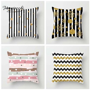 Fuwatacchi Colorful Striped Printed Cushion Cover Endless Heart Love Pillow Cover Colorful  Decorative Pillowcase for Home Sofa
