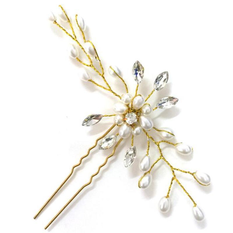 New Adults Women's Bride Hand-make Pearl Crystal Hairpin Pin Female U-shaped Folder Wedding Headdress Fashion Chic Beautiful New