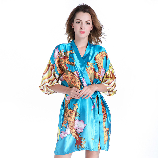 Blue Novelty Print Chinese Women Satin Robe Gown Kimono Kaftan ...