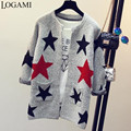 2016 New Arrivals Fashion Star Pattern Long Cardigan Female Sweater Women Long Sleeve Knitted Slim Sweaters Sueter Camisola