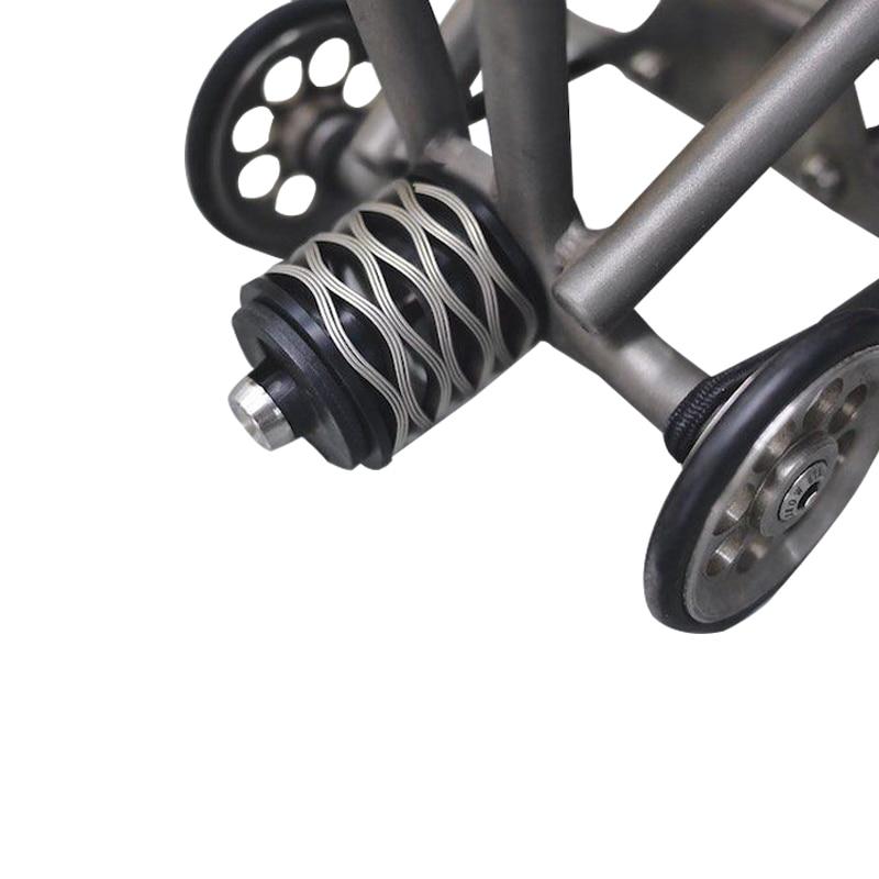 Amortisseur arrière de vélo à ressort à vague AGEKUSL Pro pour Suspension de vélo pliante Brompton 304 partie de boulon en titane à ressort en acier inoxydable