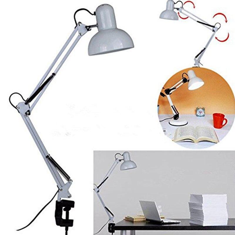 1PC Flexible Swing Arm Clamp Mount Desk Lamp Black/White Table Light Reading Lamp For Home/ Office/ Studio/Study 110V-240V1PC Flexible Swing Arm Clamp Mount Desk Lamp Black/White Table Light Reading Lamp For Home/ Office/ Studio/Study 110V-240V