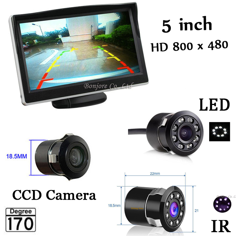 5 Inch Auto Parking System HD Car Rearview Mirror Monitor with 170 Degrees Waterproof rear