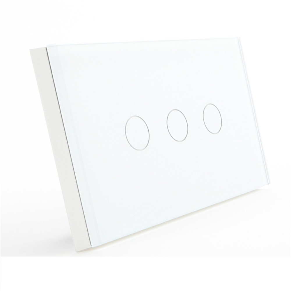 Bseed 220v US Touch Switch 3 Gang 2 Way Touch Light Switch US Standard 3 Gang With Glass Panel White Us Au Eu Uk us au standard touch switch luxury crystal glass panel wall light switch 3 gang 1 way 110v 220v wireless remote switch